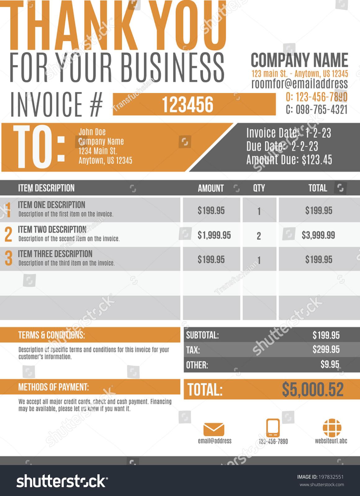fun modern customizable invoice template design stock vector