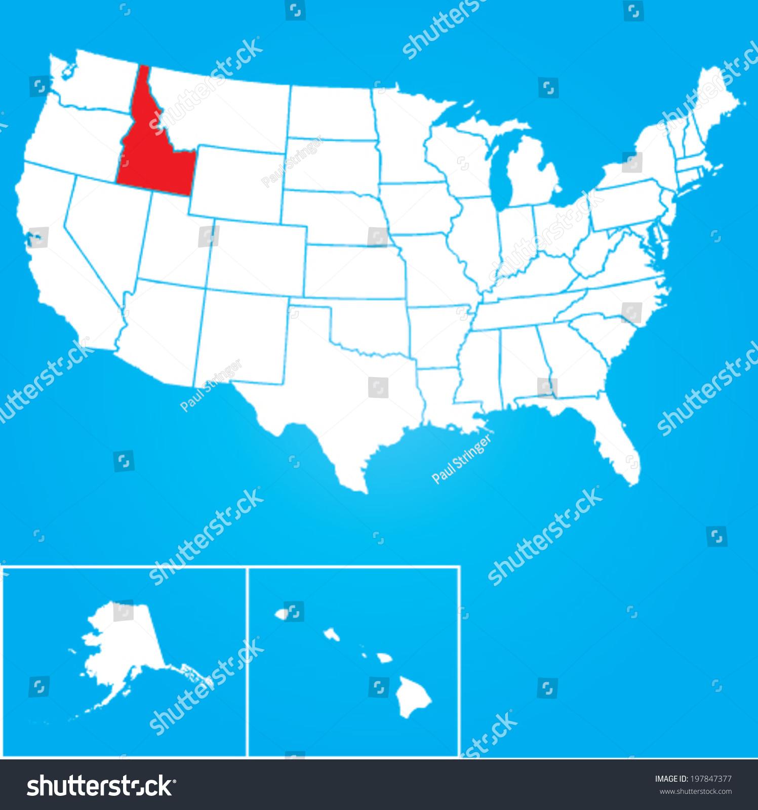 Map United States American States Idaho Stock Vector - United states map idaho