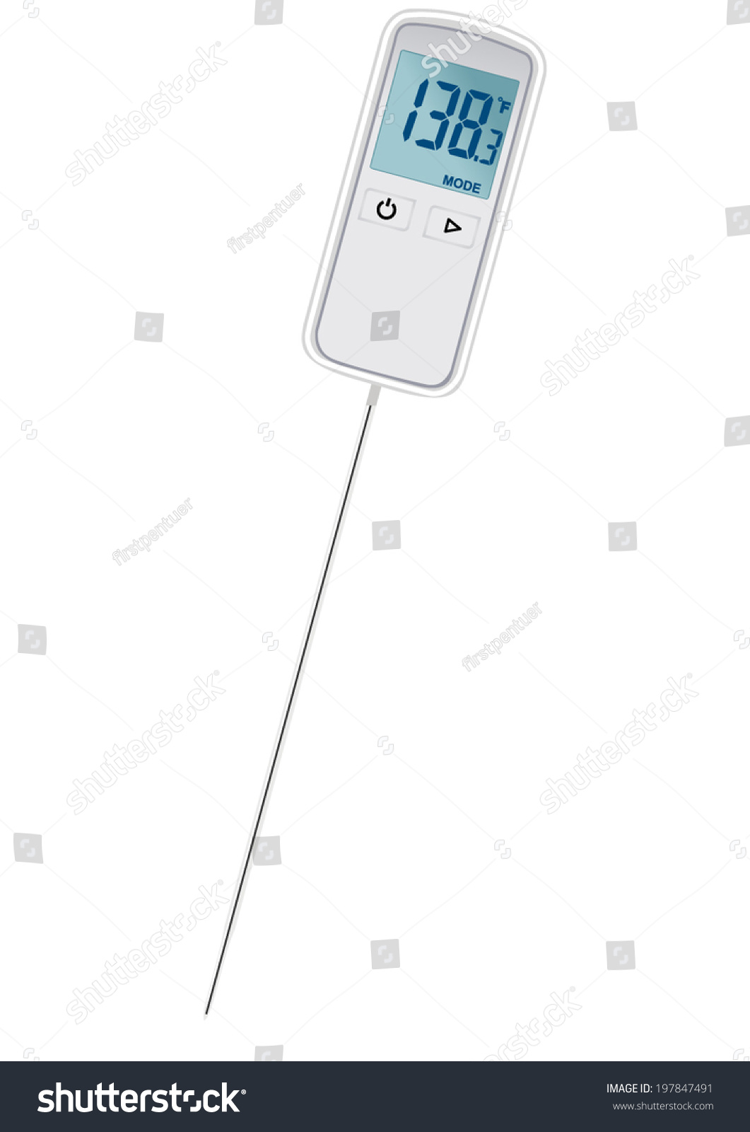 Vector Format Small Digital Thermometer Penetrating Stock Vector ...