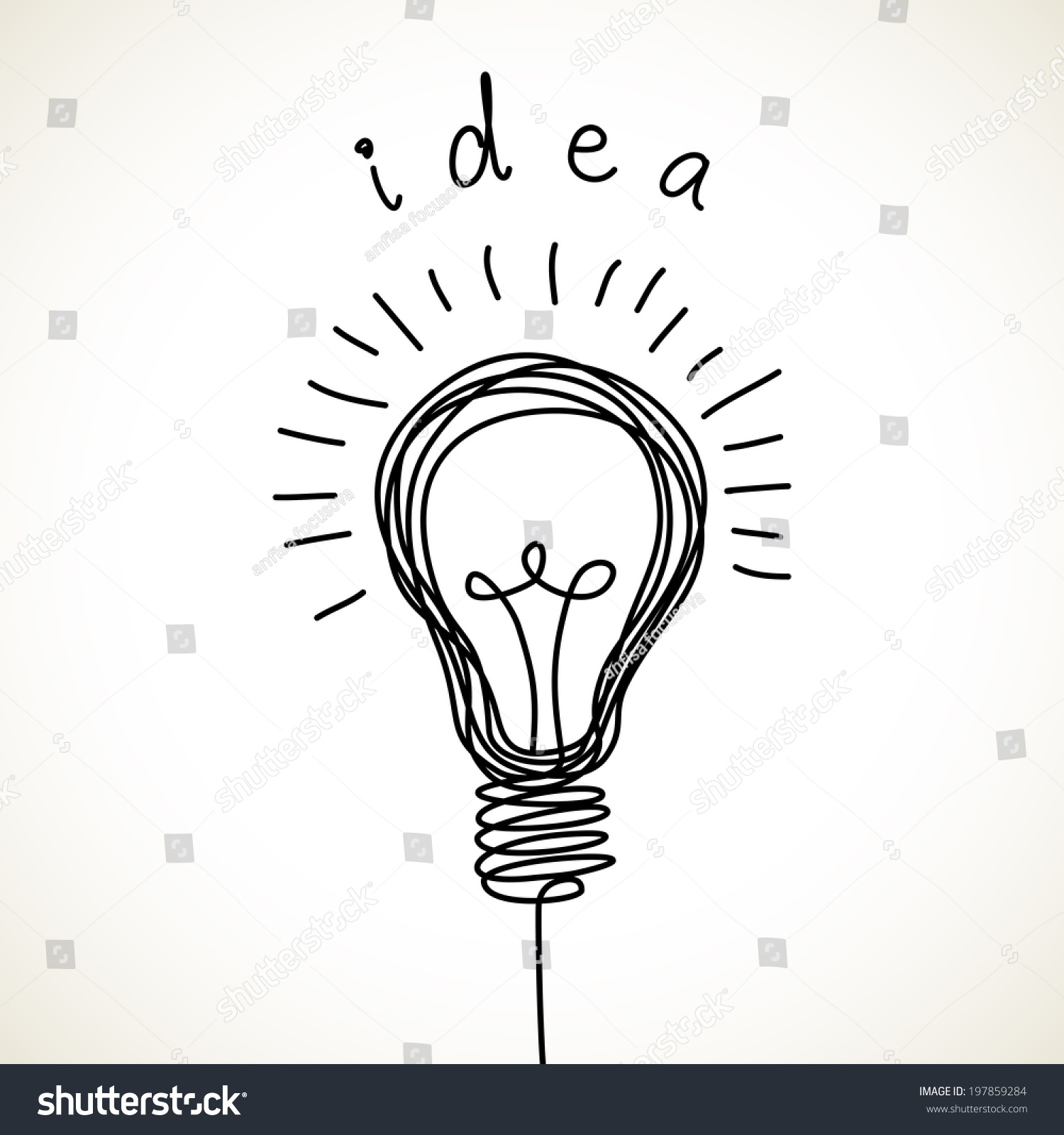 Set Of Hand Drawn Light Bulbs Symbol Of Ideas Stock: Vector Light Bulb Icon With Concept Of Idea. Doodle Hand