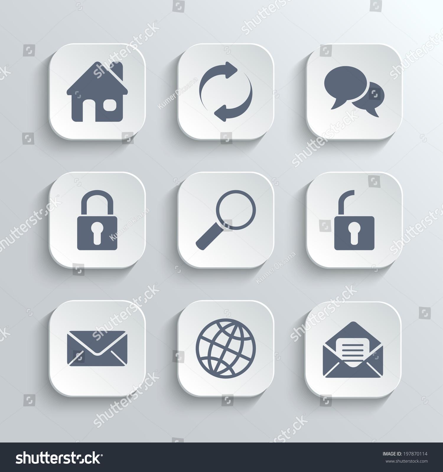 Web Icons Set Vector White App Stock Vector 197870114 - Shutterstock