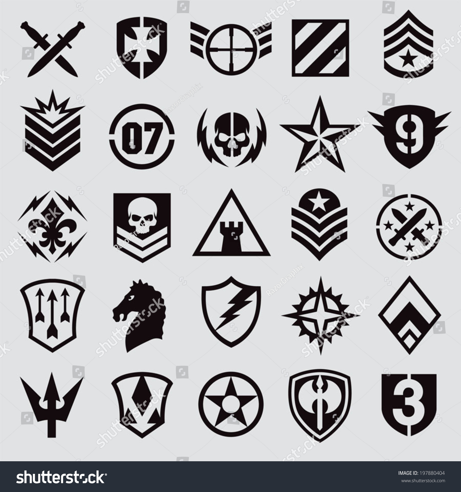 Military symbol icons stock vector 197880404 shutterstock military symbol icons buycottarizona