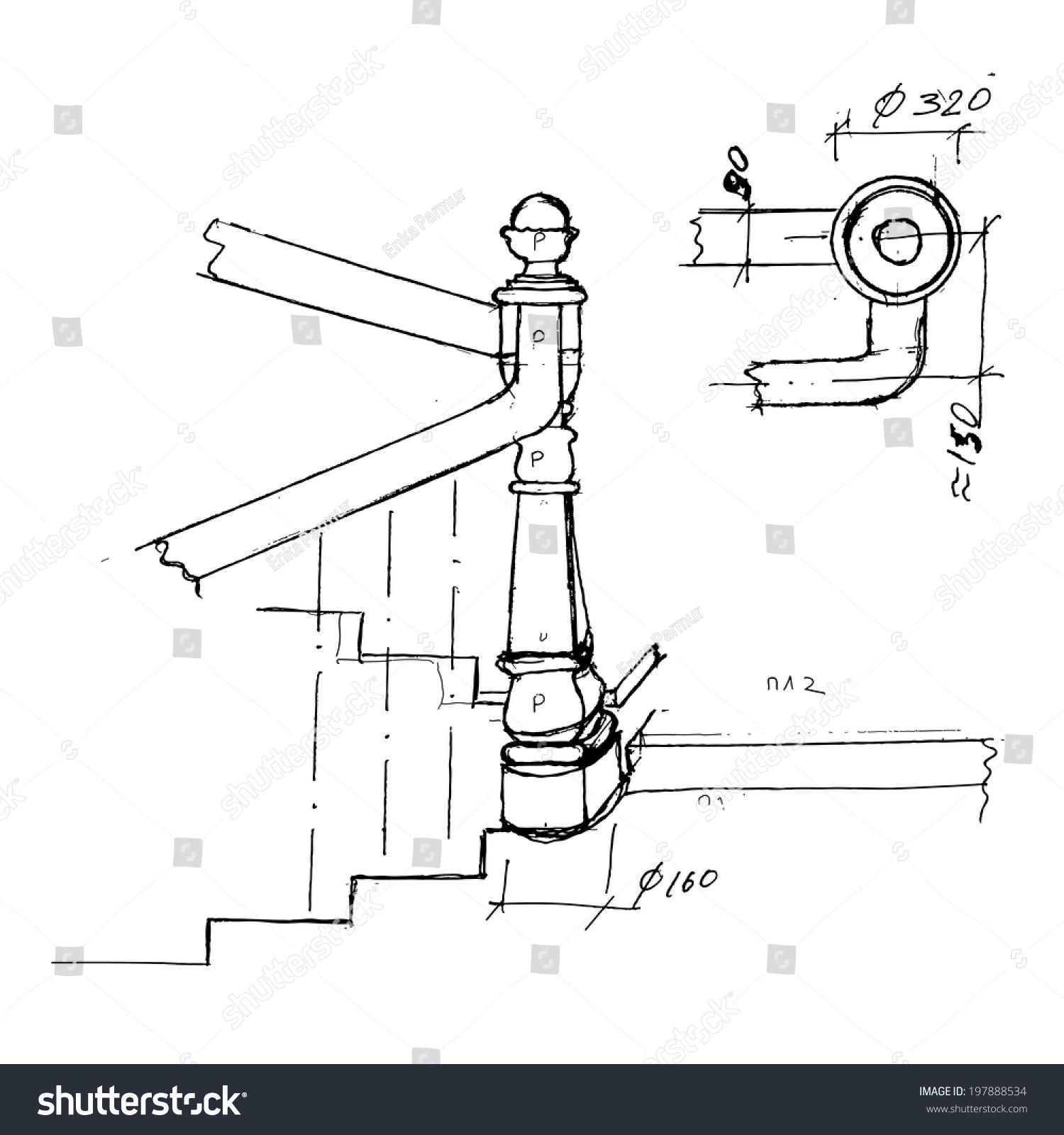 Charming Stair Part Draft Sketch. Black Outline On White Background. Vector  Illustration.