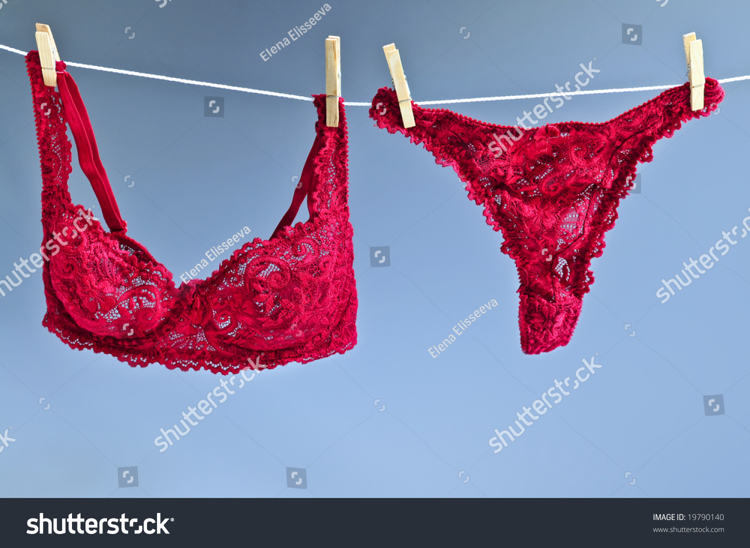 Sexy Lace Lingerie Hanging On Clothes Stock Photo 19790140 ...