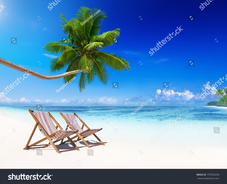 Tropical Beach Chairs Deck Chairs On ...