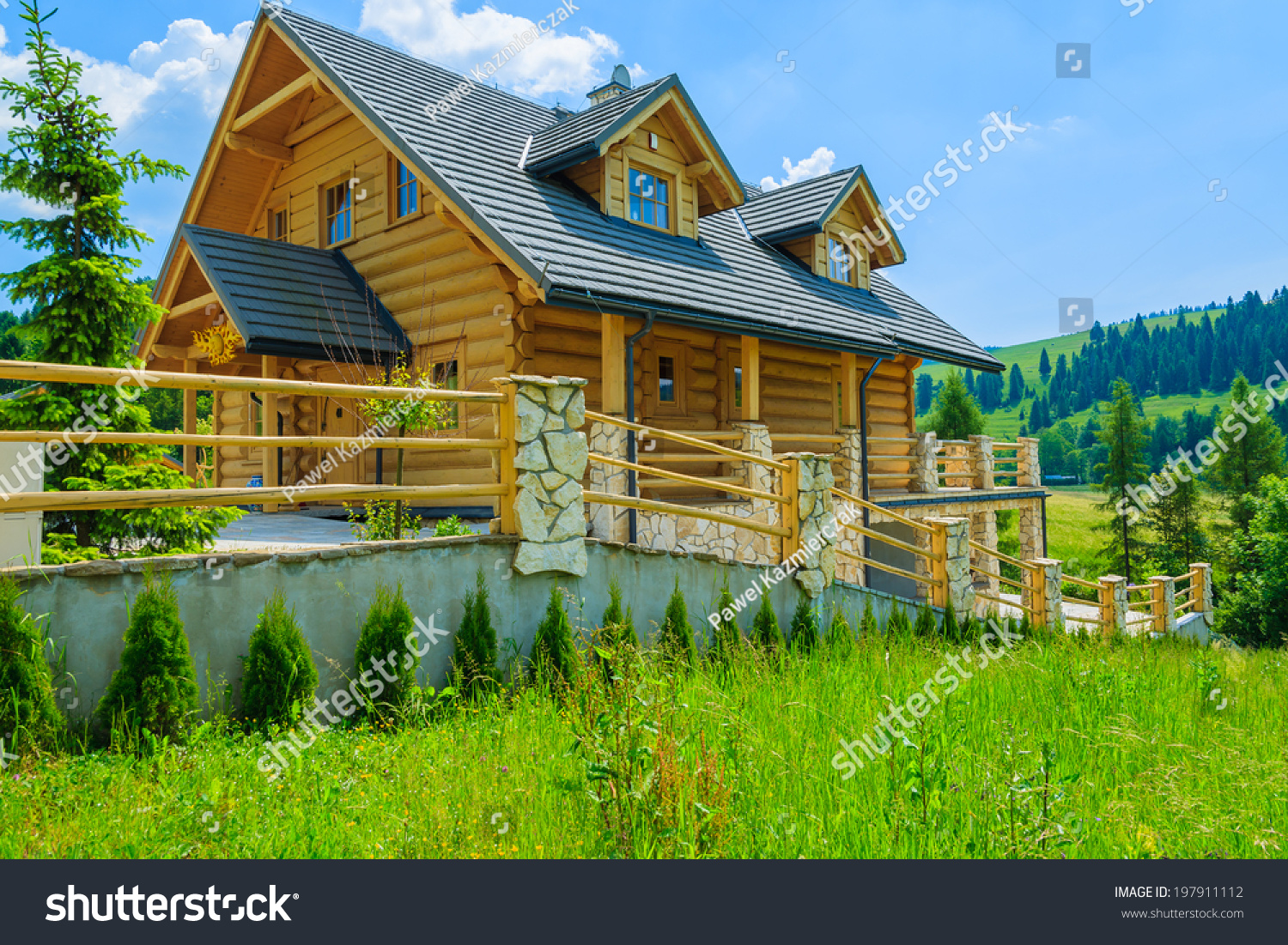 Traditional wooden mountain house on green stock photo 197911112 shutterstock - Summer houses mountains ...