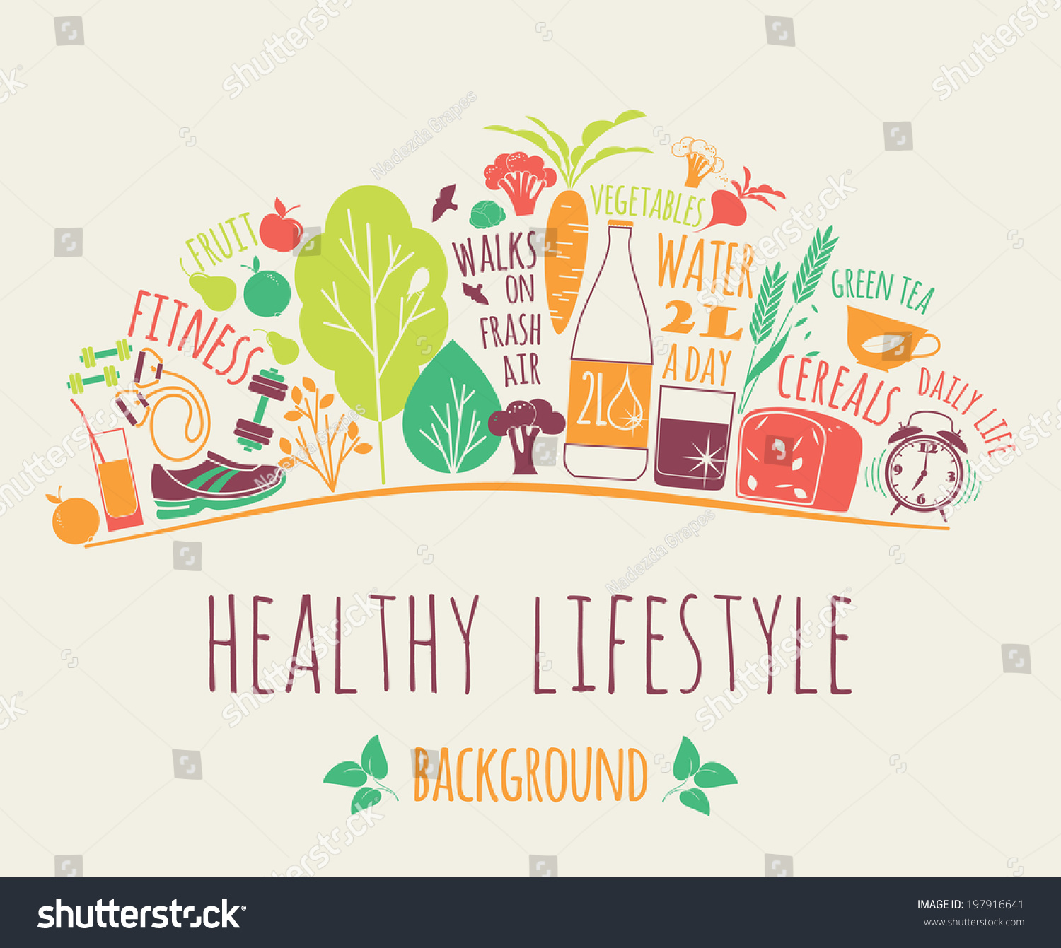 Lifestyl: Healthy Lifestyle Background Stock Vector 197916641