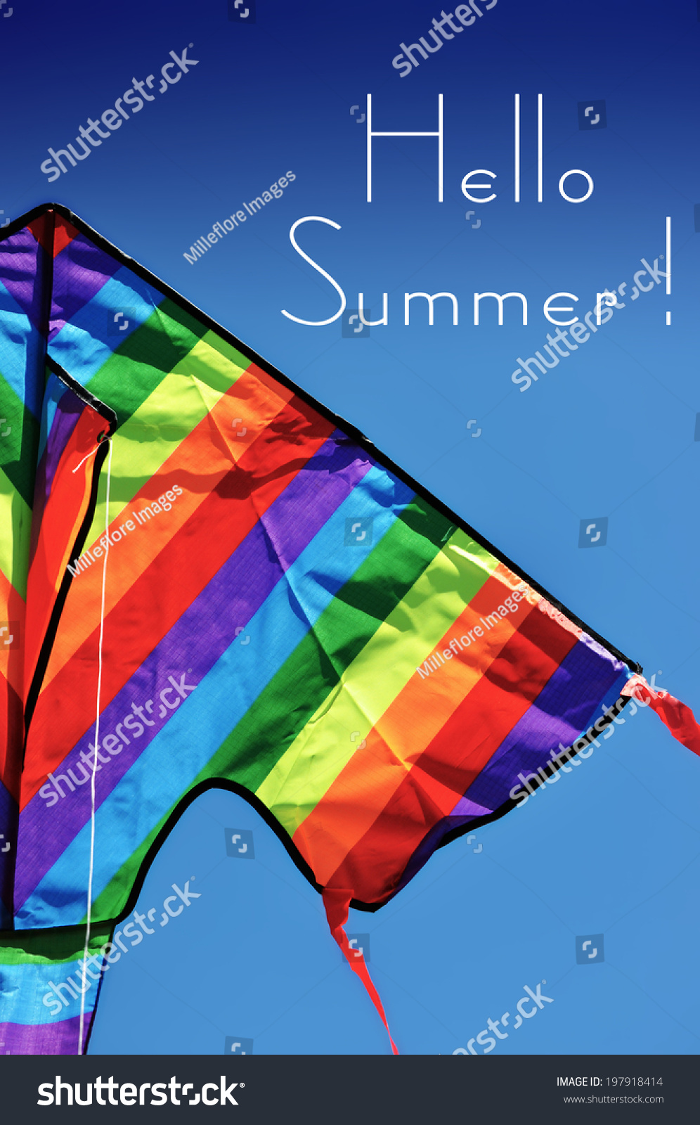 Hello Summer Sample Text With Bright Colorful Kite Flying High Over Blue Sky .