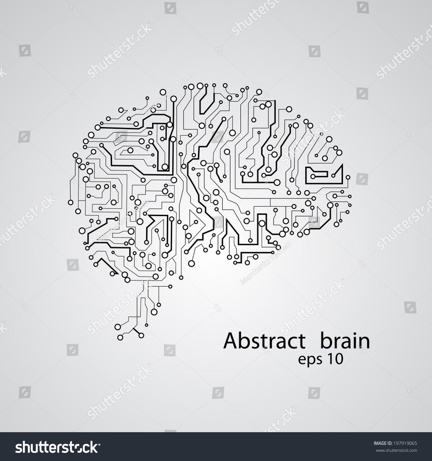 Circuit Brain Reusable : Circuit board brain eps vector stock