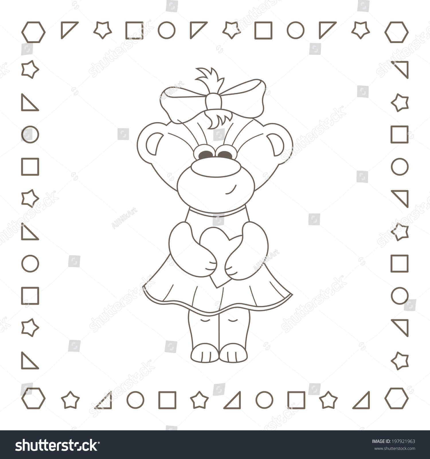stock photo cute little teddy bear girl with heart valentine card happy valentine s day coloring page
