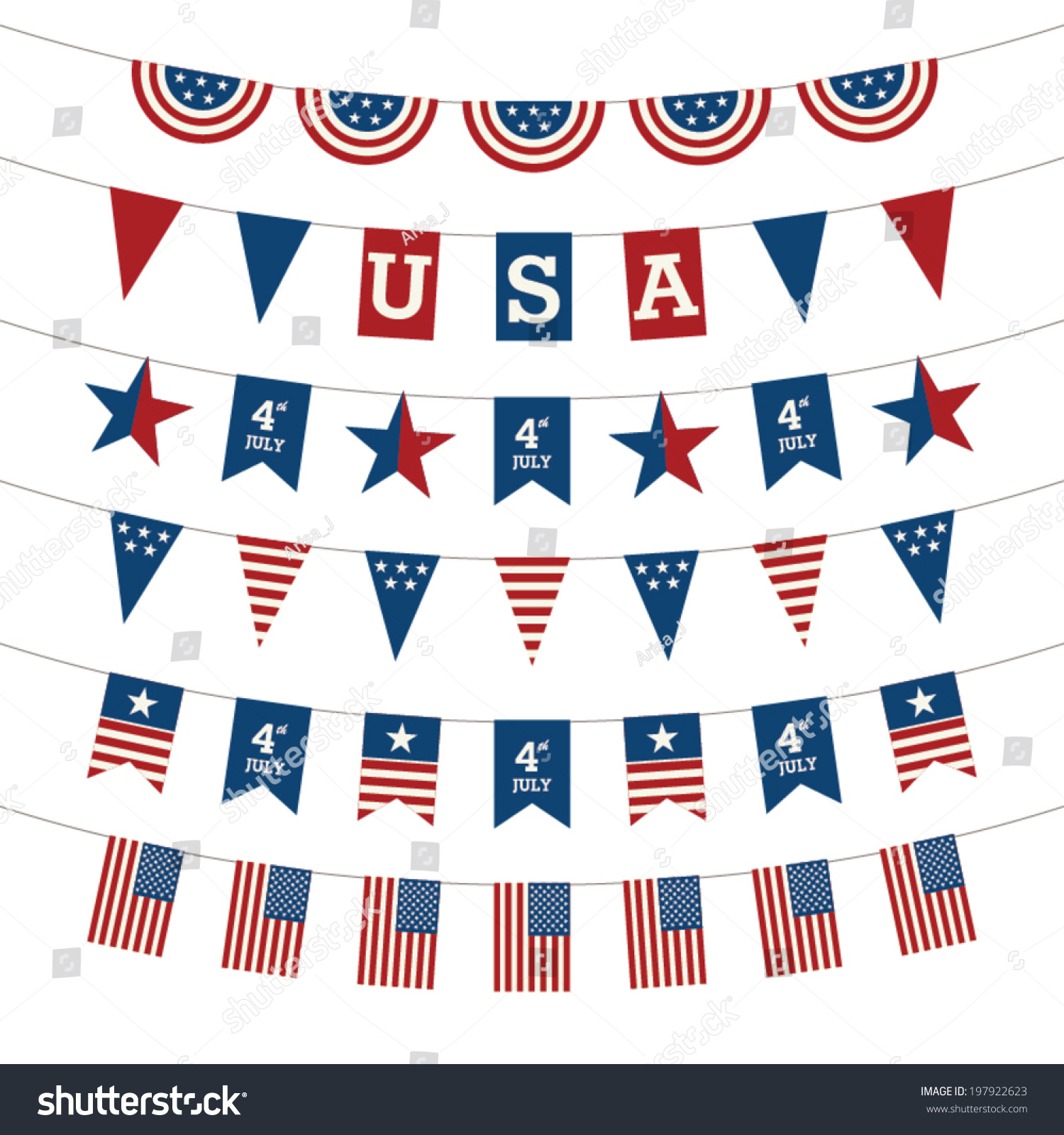 Set Patriotic Bunting Flags 4th July Stock Vector 197922623 ...