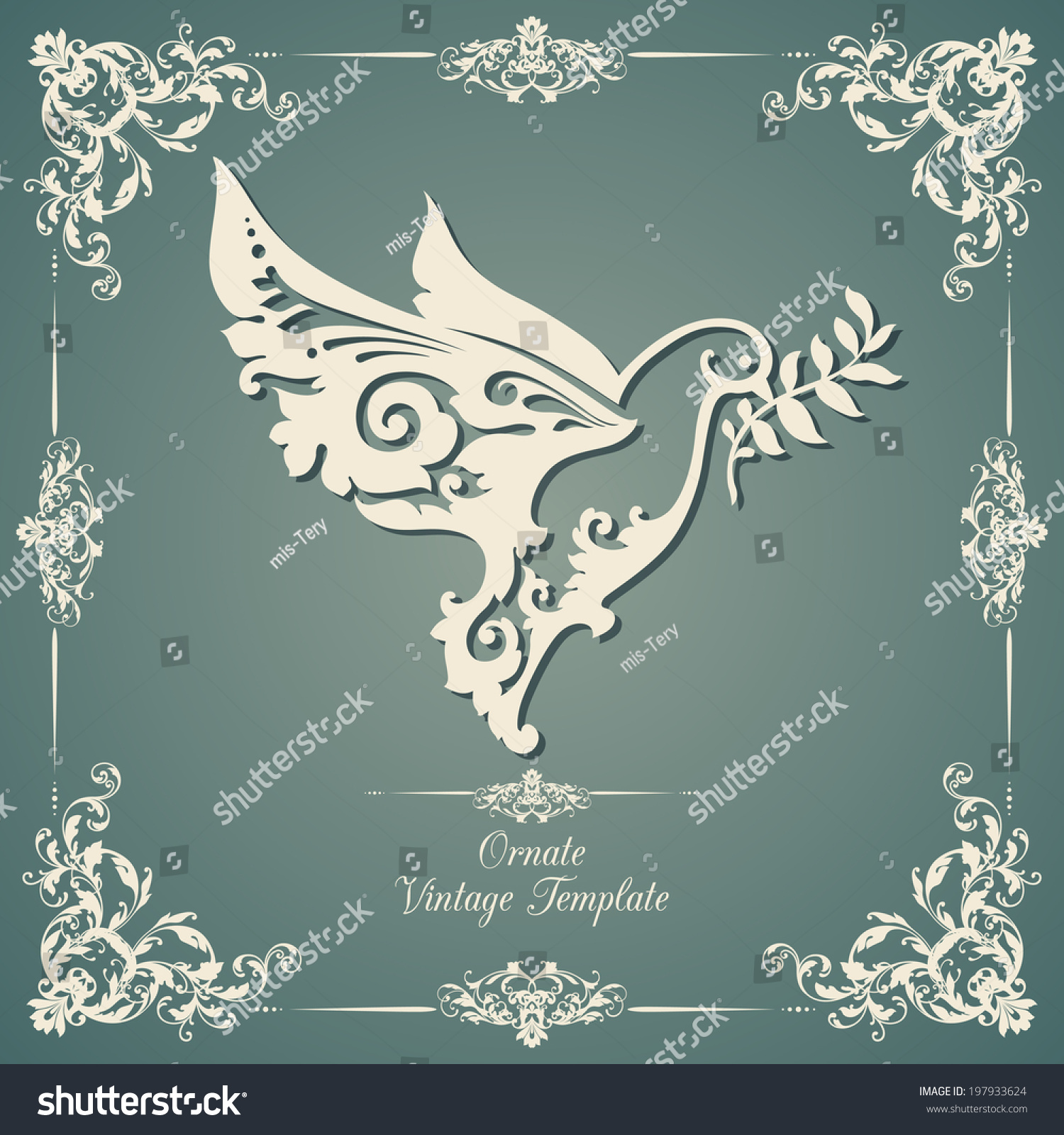 Vintage Template Ornamental Dove Olive Branch Stock Vector 197933624 ...