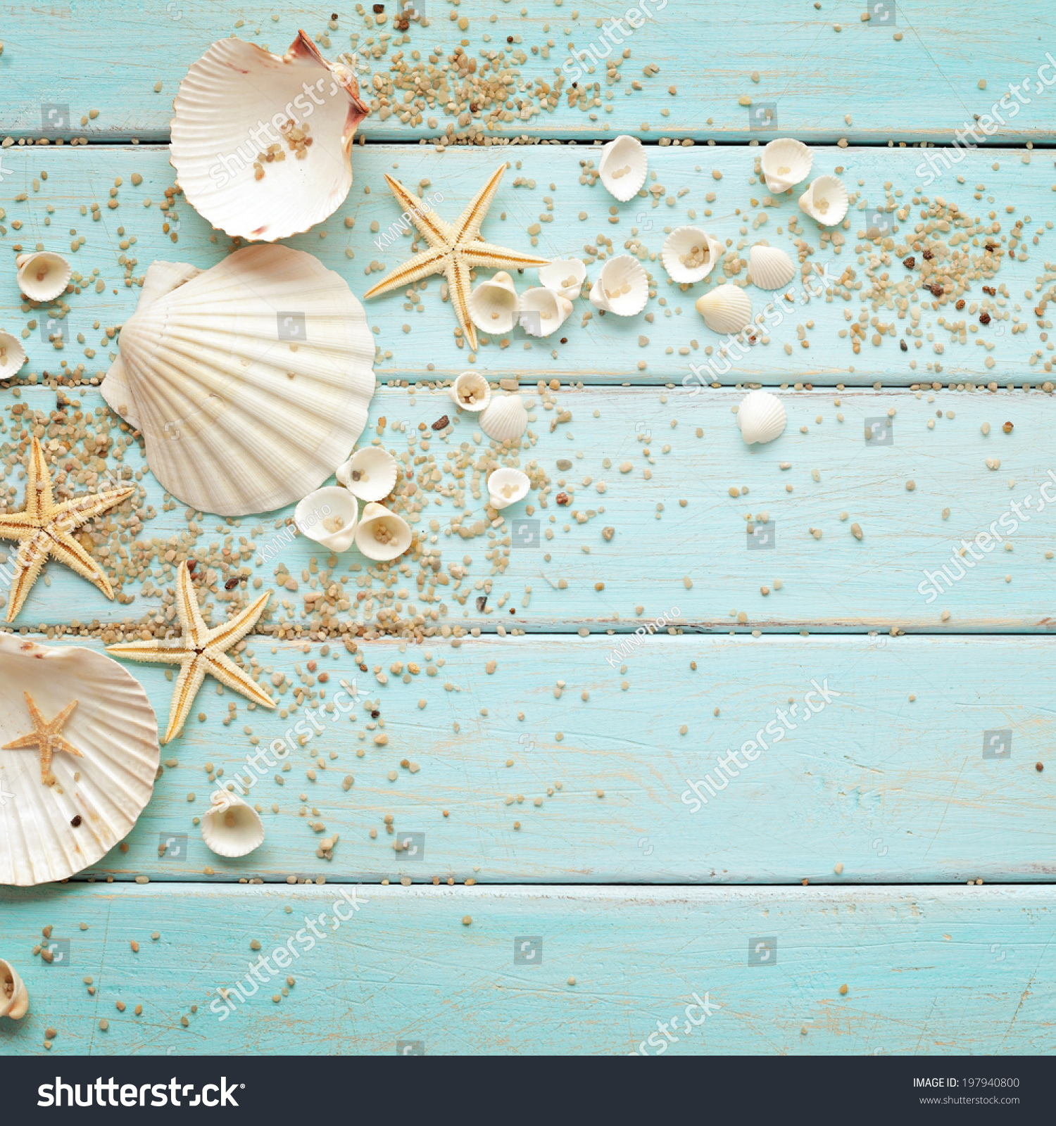 Wood Floor On Beach Sea And Blue Sky For Background Stock: Seashells Frame On Wooden Background Nautical Stock Photo