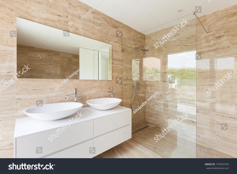 Nice Modern Bathroom Marble Walls Stock Photo 197954792