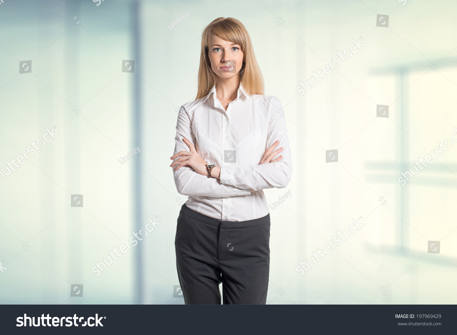 Portrait young business woman white shirt stock photo 197969429 shutterstock - Office portrait photography ...