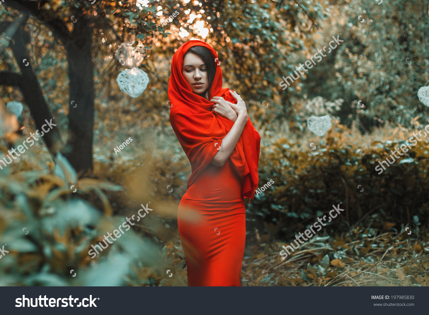 The dress garden - Glorious Girl In A Red Dress In The Garden With Hearts