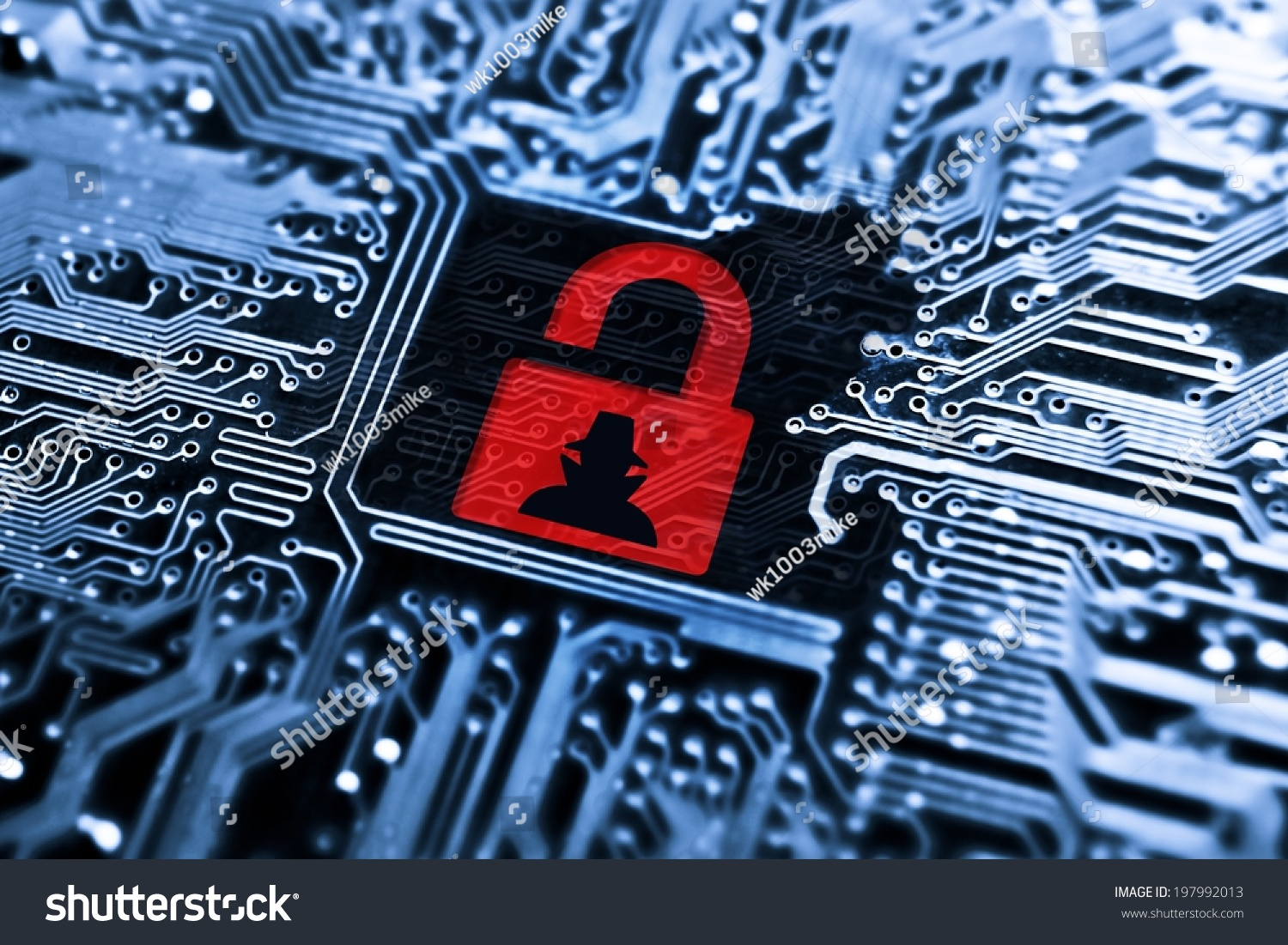 hacked symbol on computer circuit board stock photo (edit nowhacked symbol on computer circuit board with open red padlock