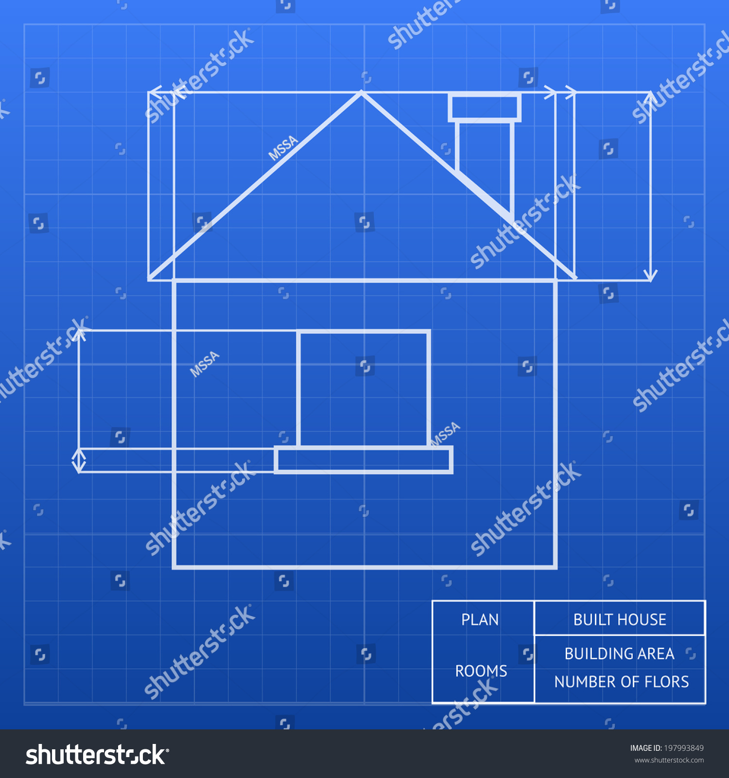 Architectural blueprint house design showing exterior stock architectural blueprint of a house design showing an exterior elevation with window and roof heights and malvernweather Image collections