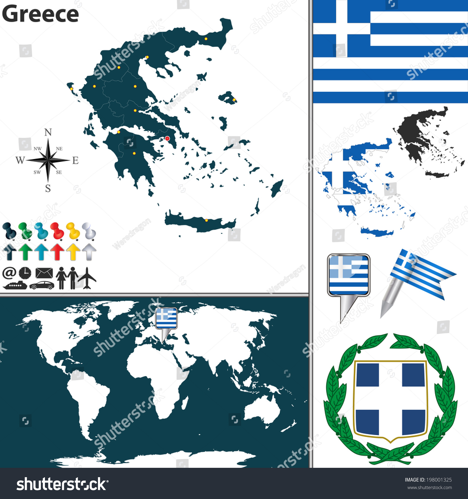 Vector Map Greece Regions Coat Arms Stock Vector Royalty Free