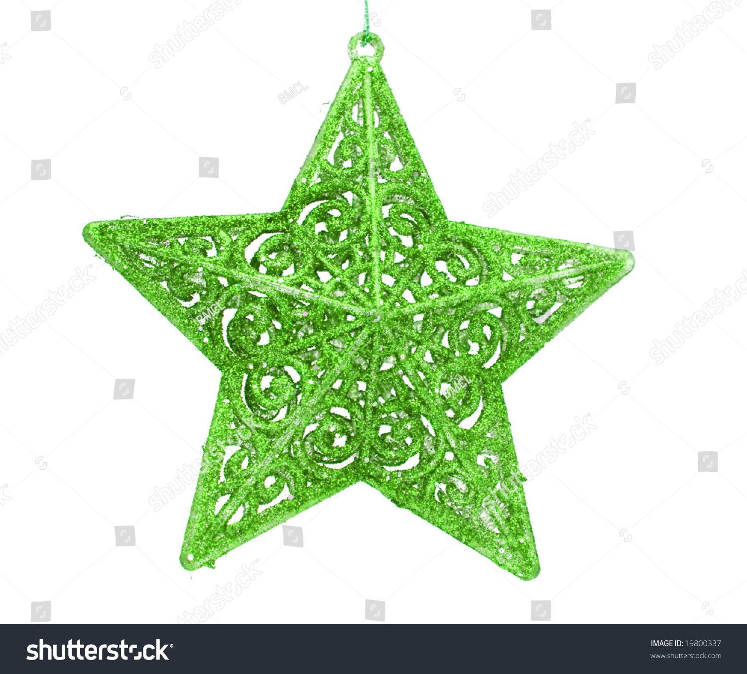 Green sparkling christmas star decoration stock photo