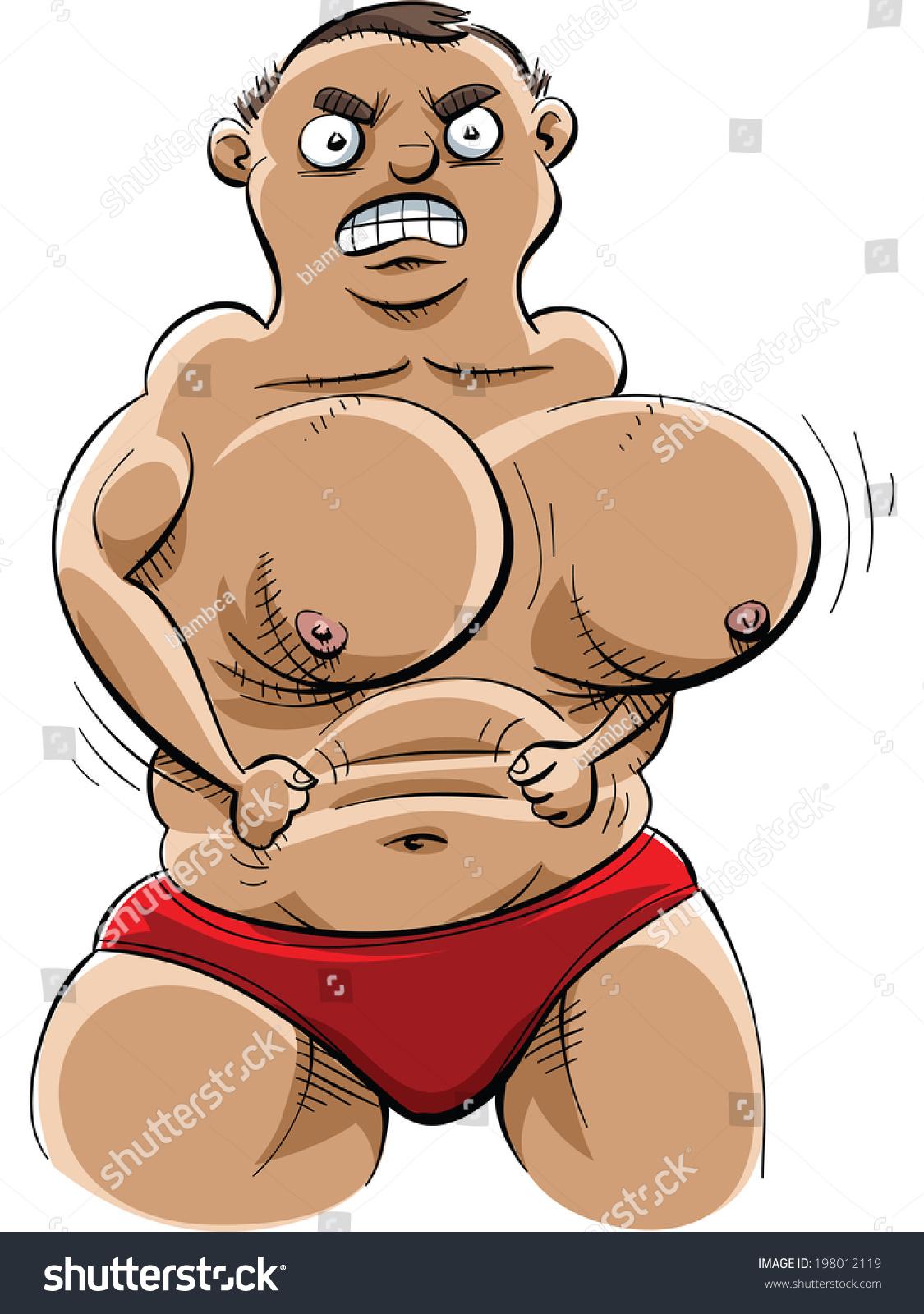 Cartoon Muscle Man Extreme Pecs Weak Stock Vector 198012119 ...