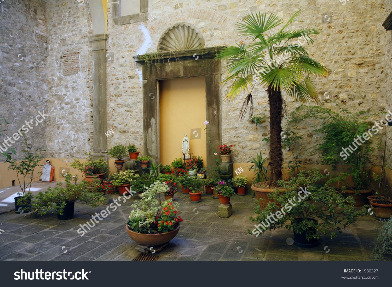 A Look Inside An Italian Patio In The Village Borgo.