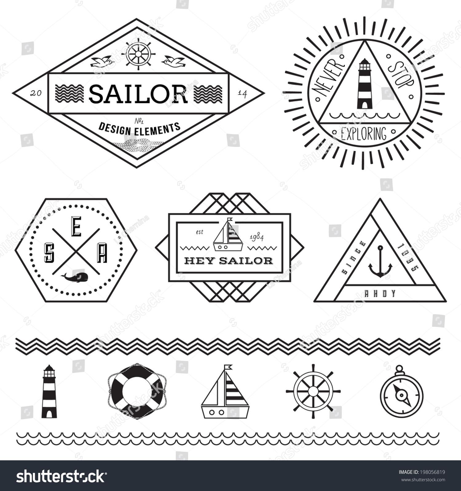 Key Elements Of Nautical Style: Set Nautical Vintage Badges Labels Design Stock Vector