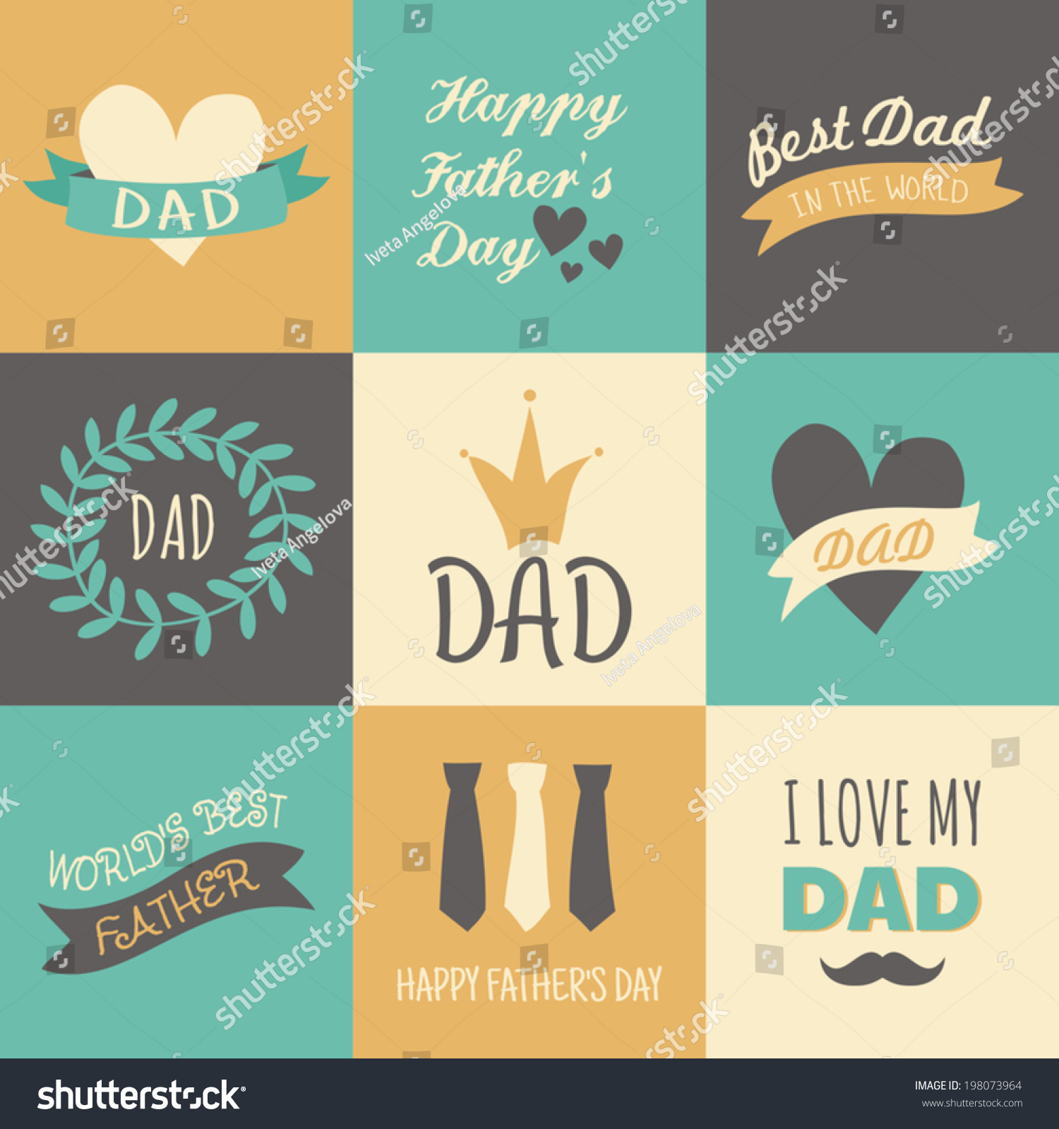 Set Greeting Cards Fathers Day Stock Vector 198073964 Shutterstock
