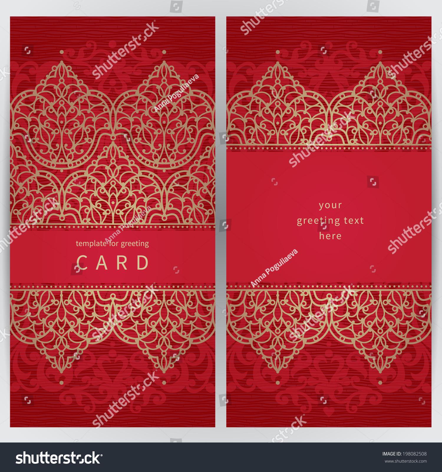 Vintage ornate cards in oriental style. Golden Eastern floral decor ...