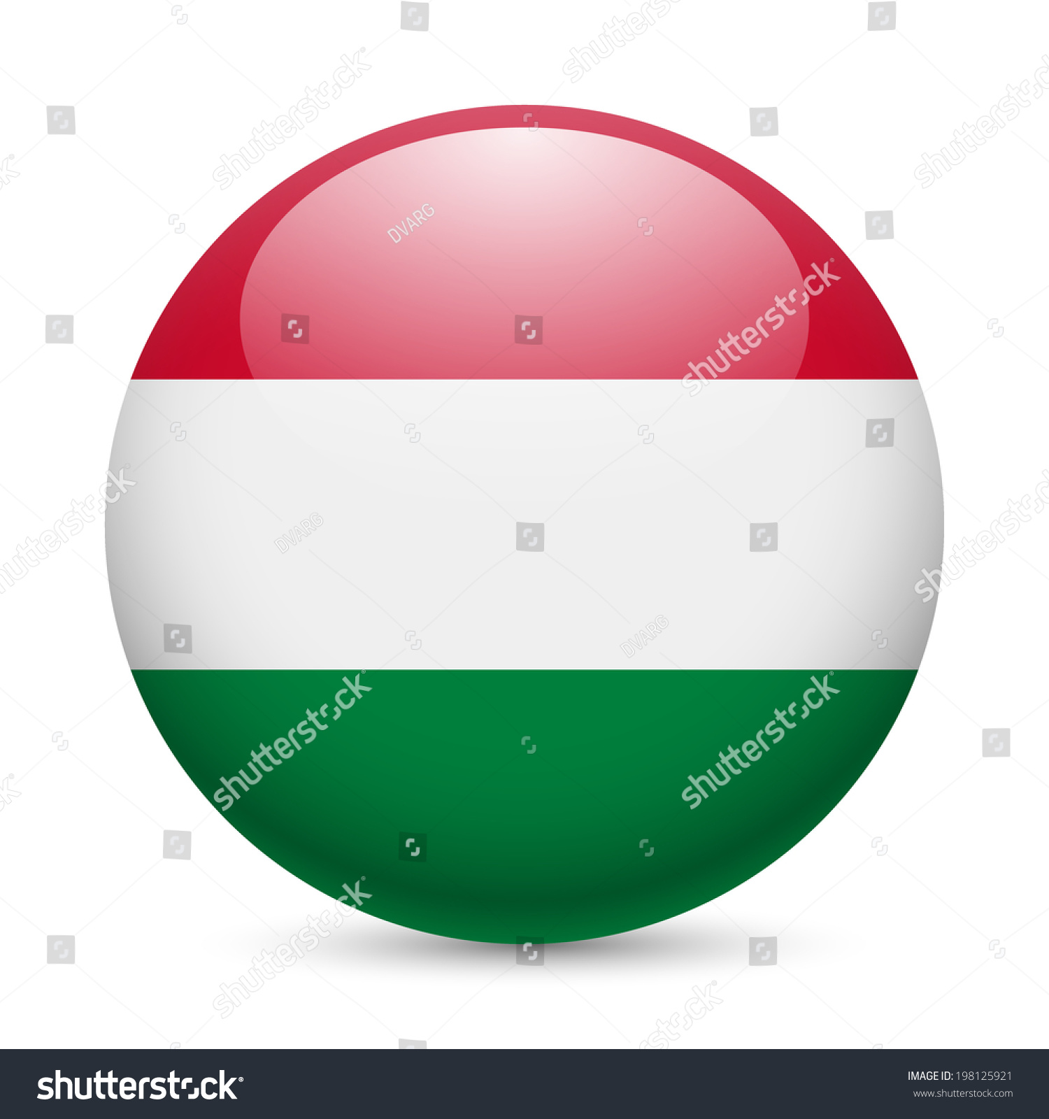 flag hungary round glossy icon button stock vector 198125921