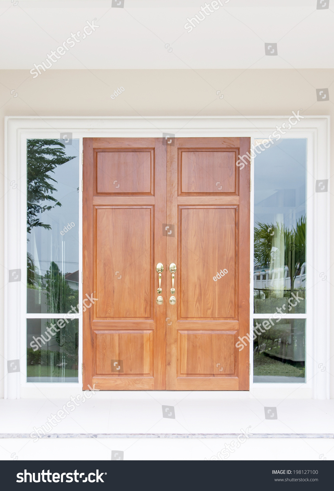 Double Wooden Doors Twin Glass Frame Stock Photo Edit Now