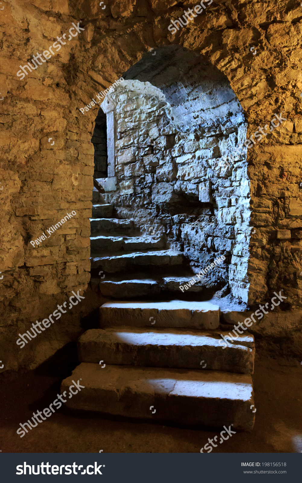 stone arch and steps in underground castte stock photo 198156518 shutterstock. Black Bedroom Furniture Sets. Home Design Ideas