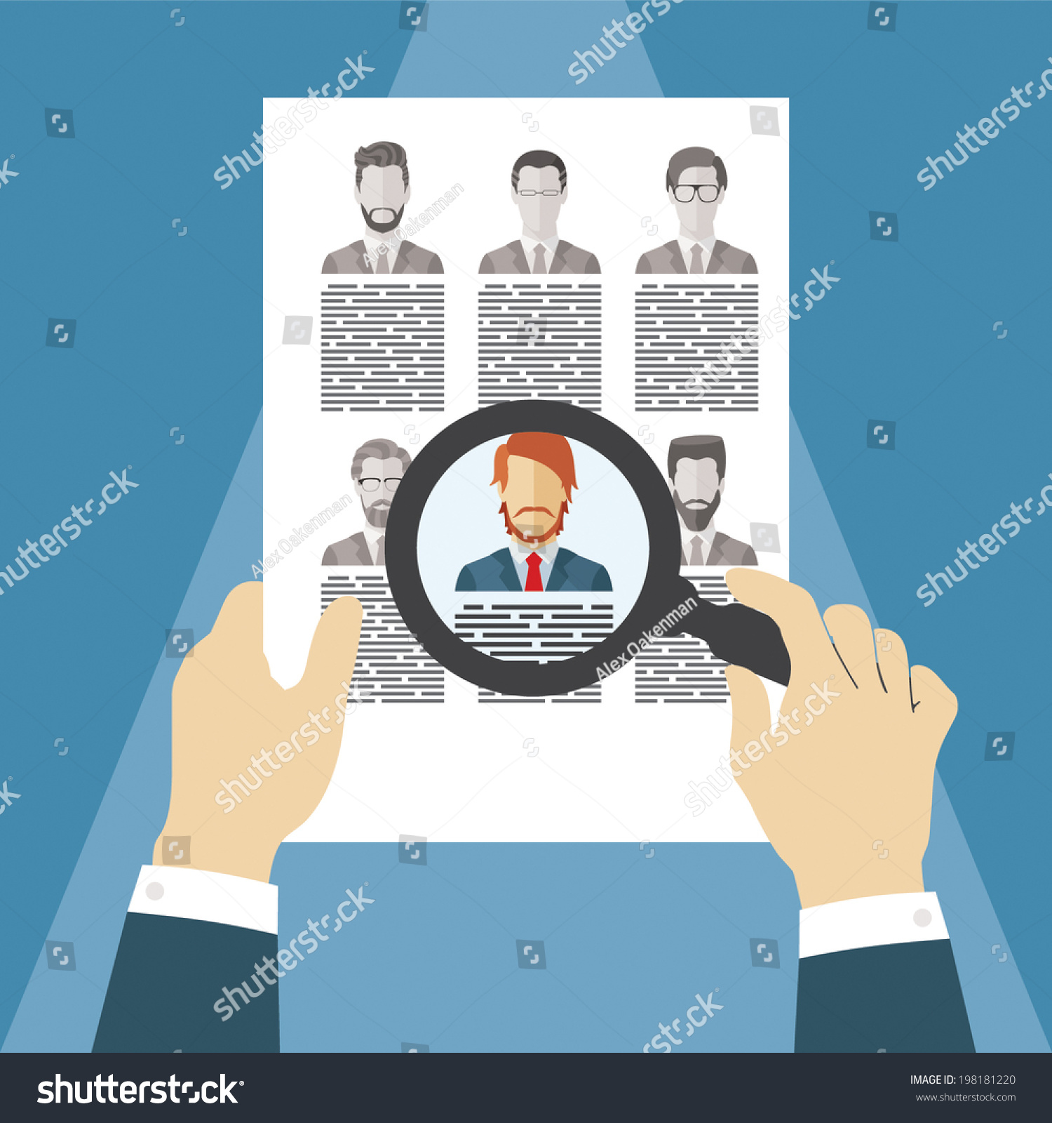 vector concept searching professional stuff head stock vector vector concept of searching for professional stuff head hunter job employment issue human
