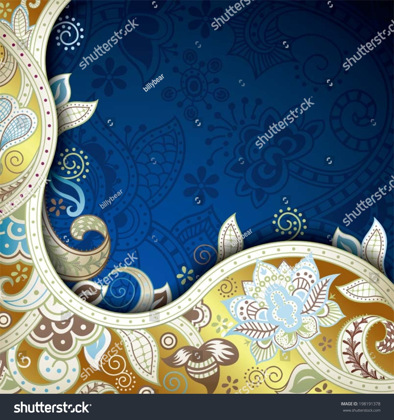 Abstract Blue And Gold Floral Background