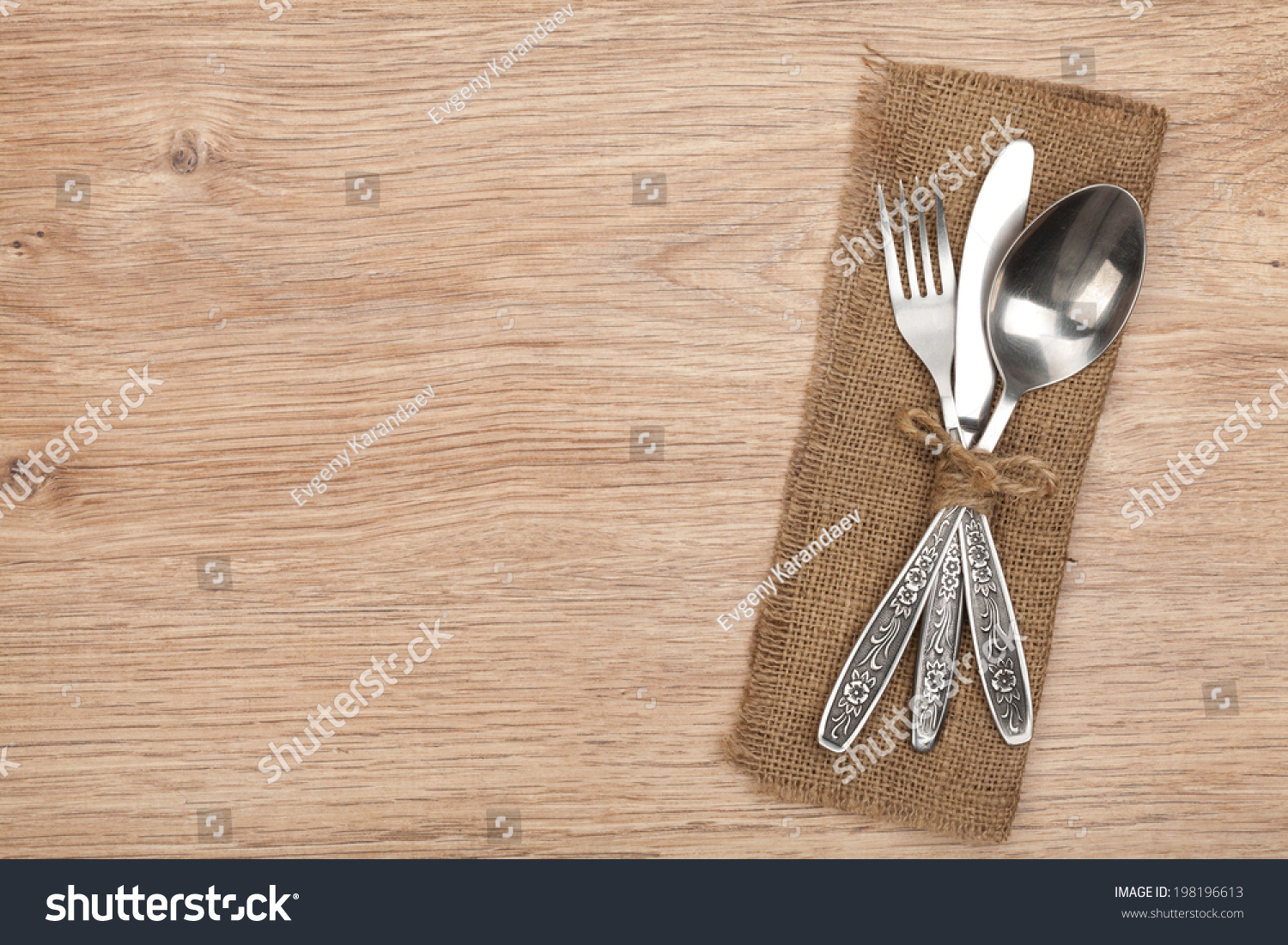 Silverware Or Flatware Set Of Fork Spoon And Knife On