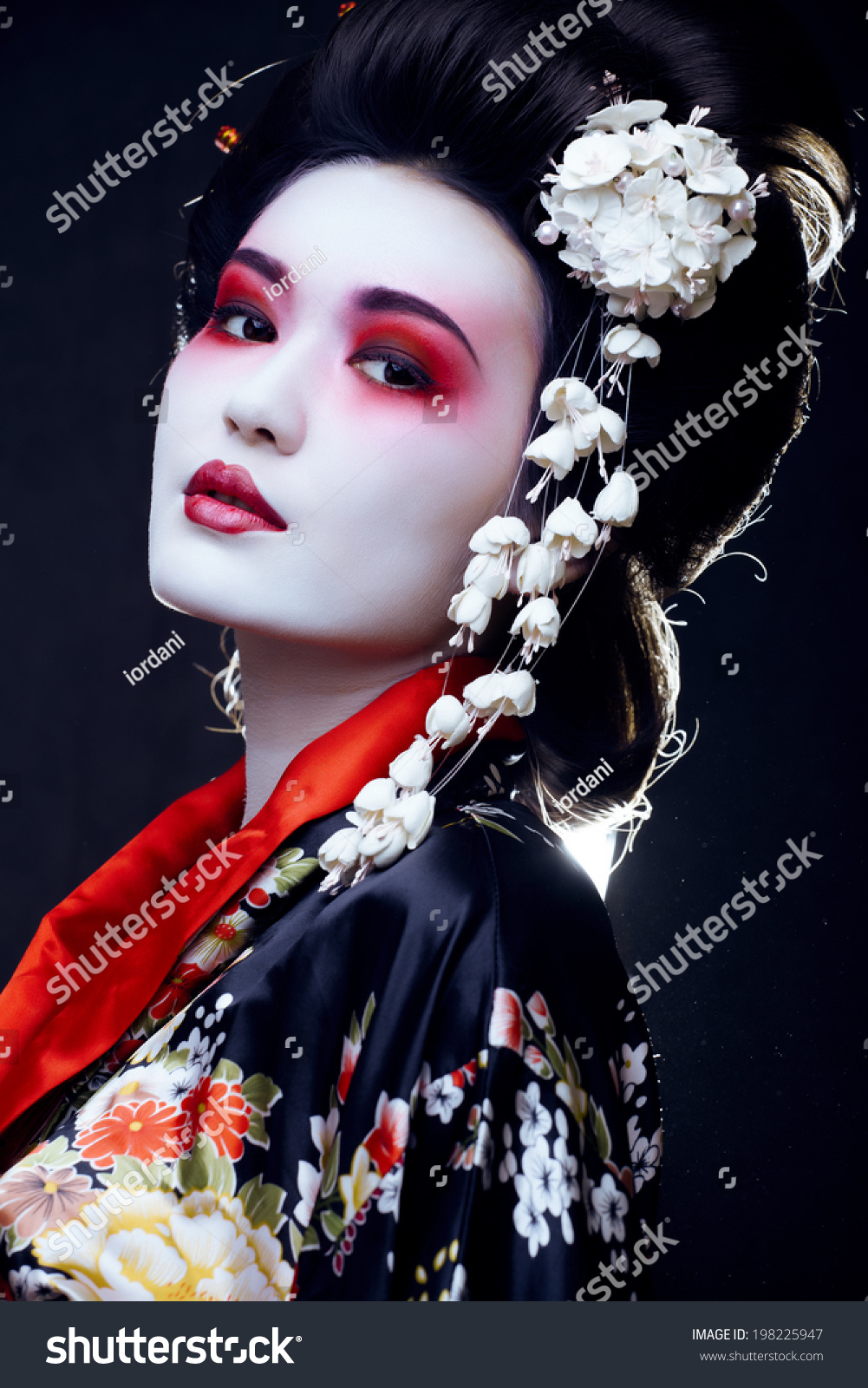 Young Beautiful Asian Womans Portrait Geisha Stock Photo