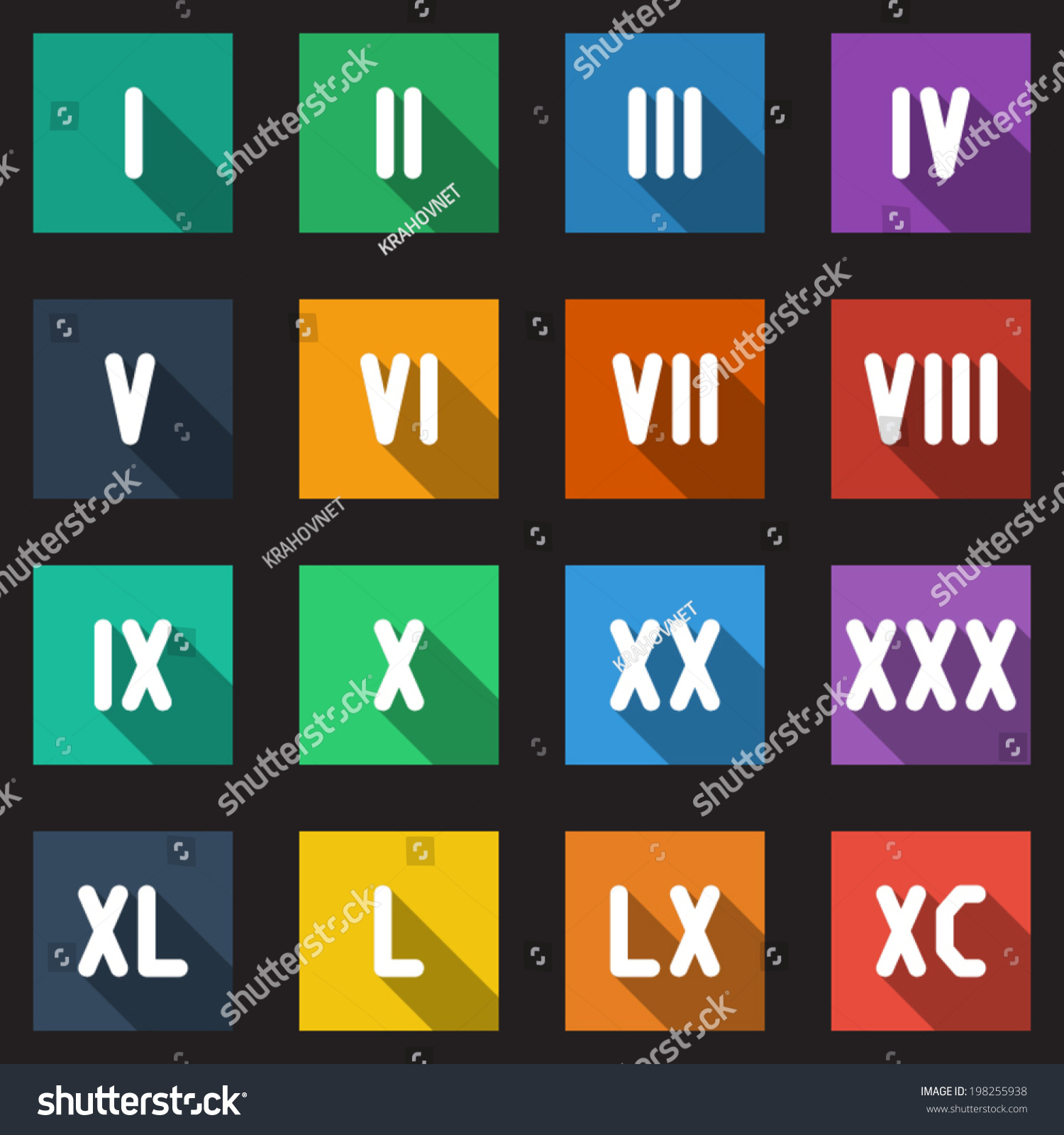 Roman numbers math symbols flat icons stock vector 198255938 roman numbers and math symbols flat icons set with long shadow biocorpaavc