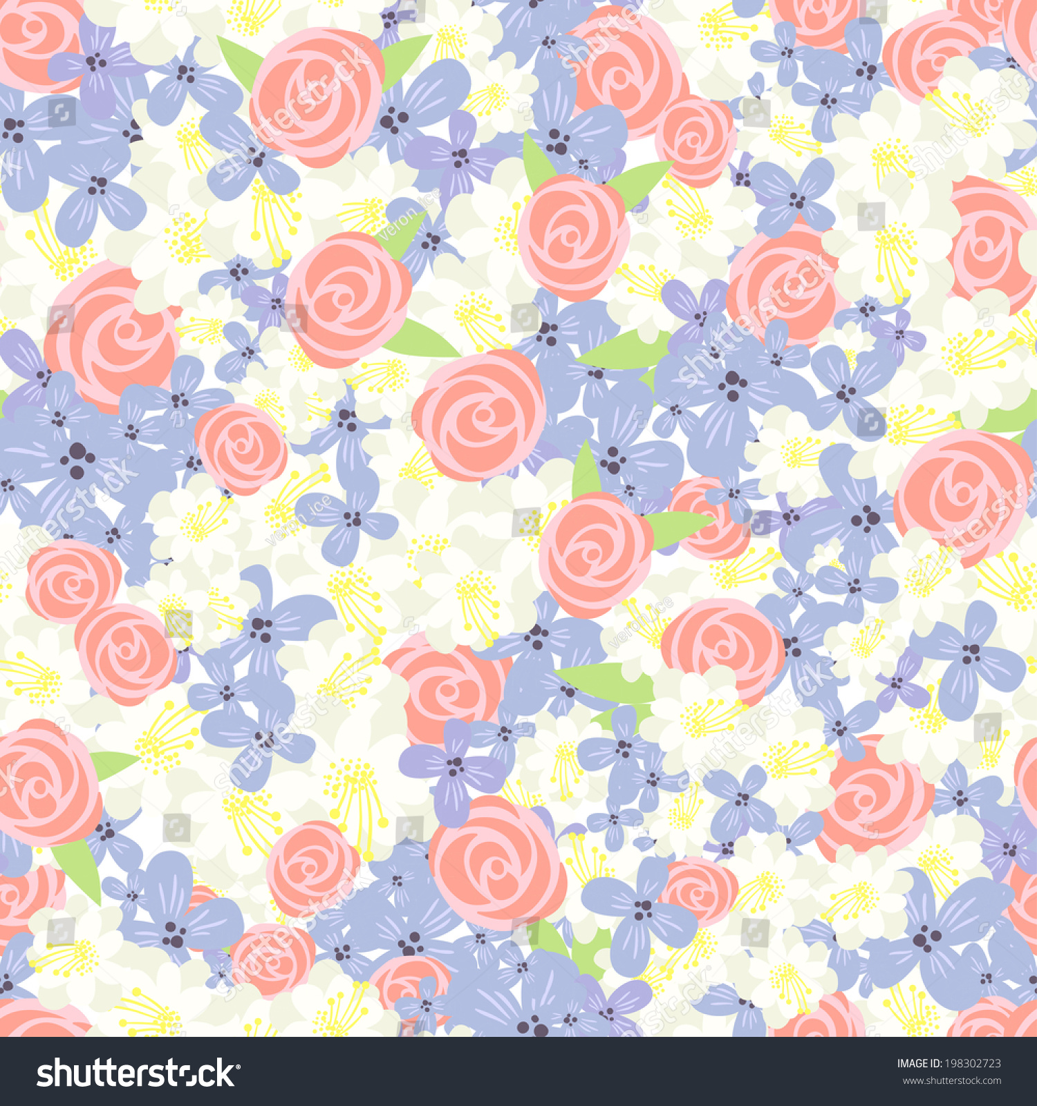 Stylish Vintage Floral Background Seamless Pattern Stock Vector