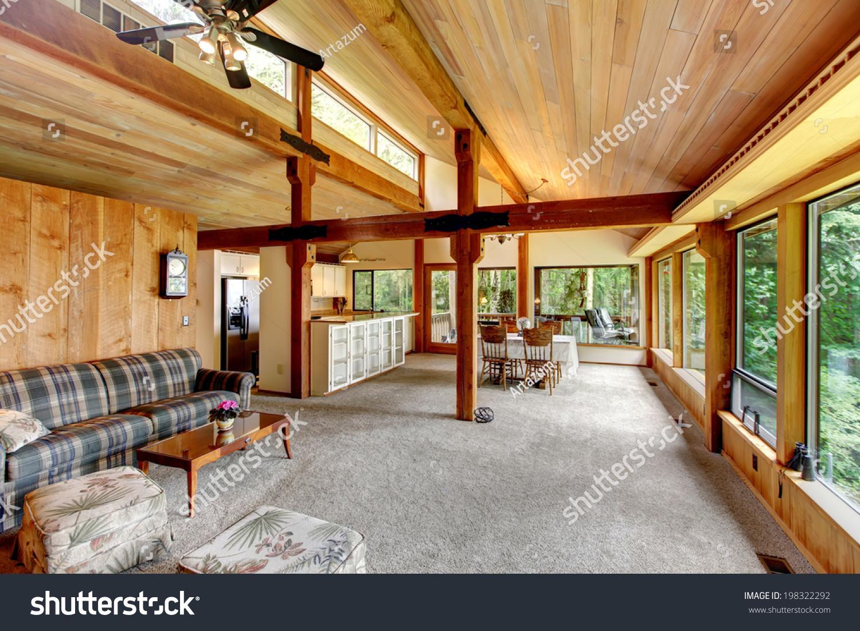 Open Floor Plan Log Cabin House Stock Photo 198322292