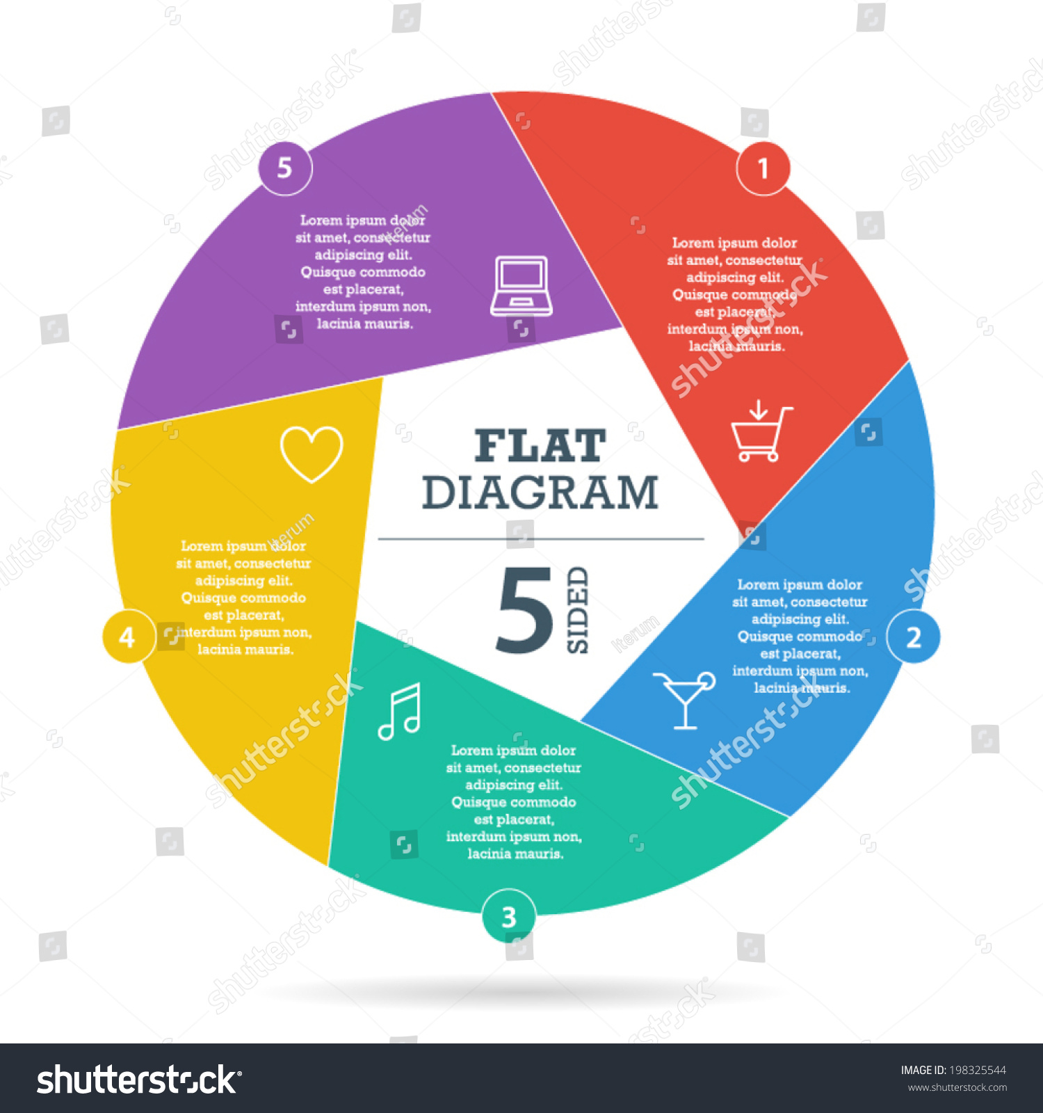 Five Sided Flat Shutter Diagram Template Stock Vector Royalty Free Business Star 2 Stages Templates Ppt Backgrounds For Slides Your Presentation With Text Areas And Icons