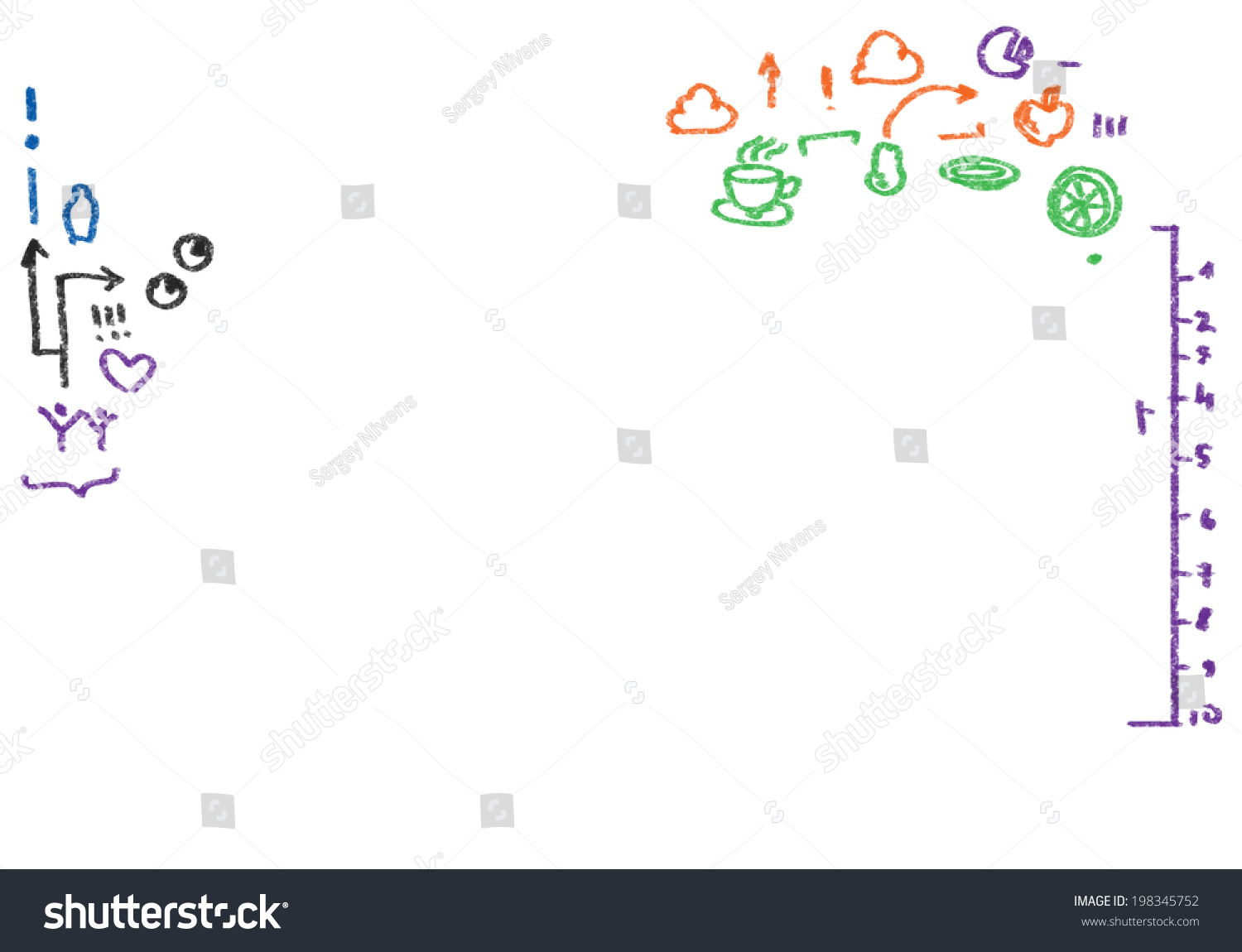 Conceptual image with sketches on white background