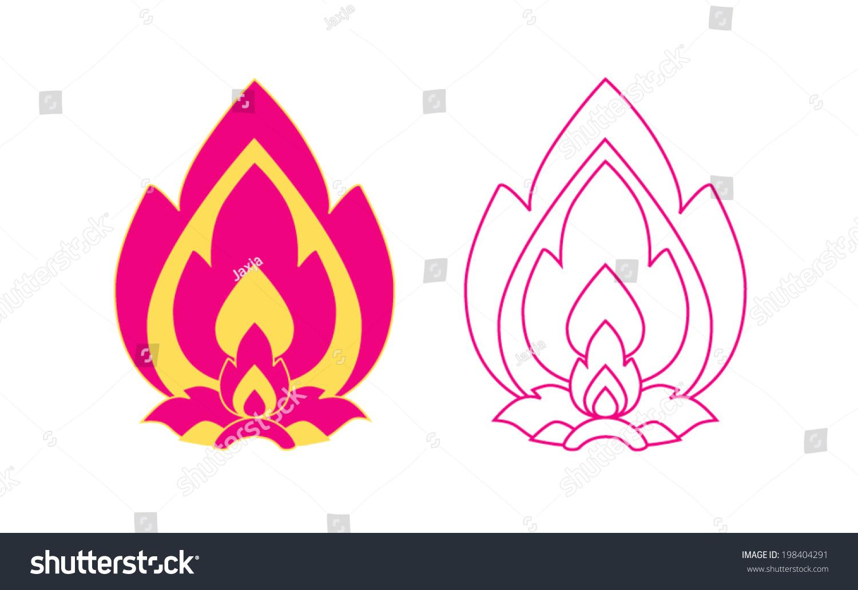 Thai Art Lotus Flower Art Pattern Stock Vector Royalty Free