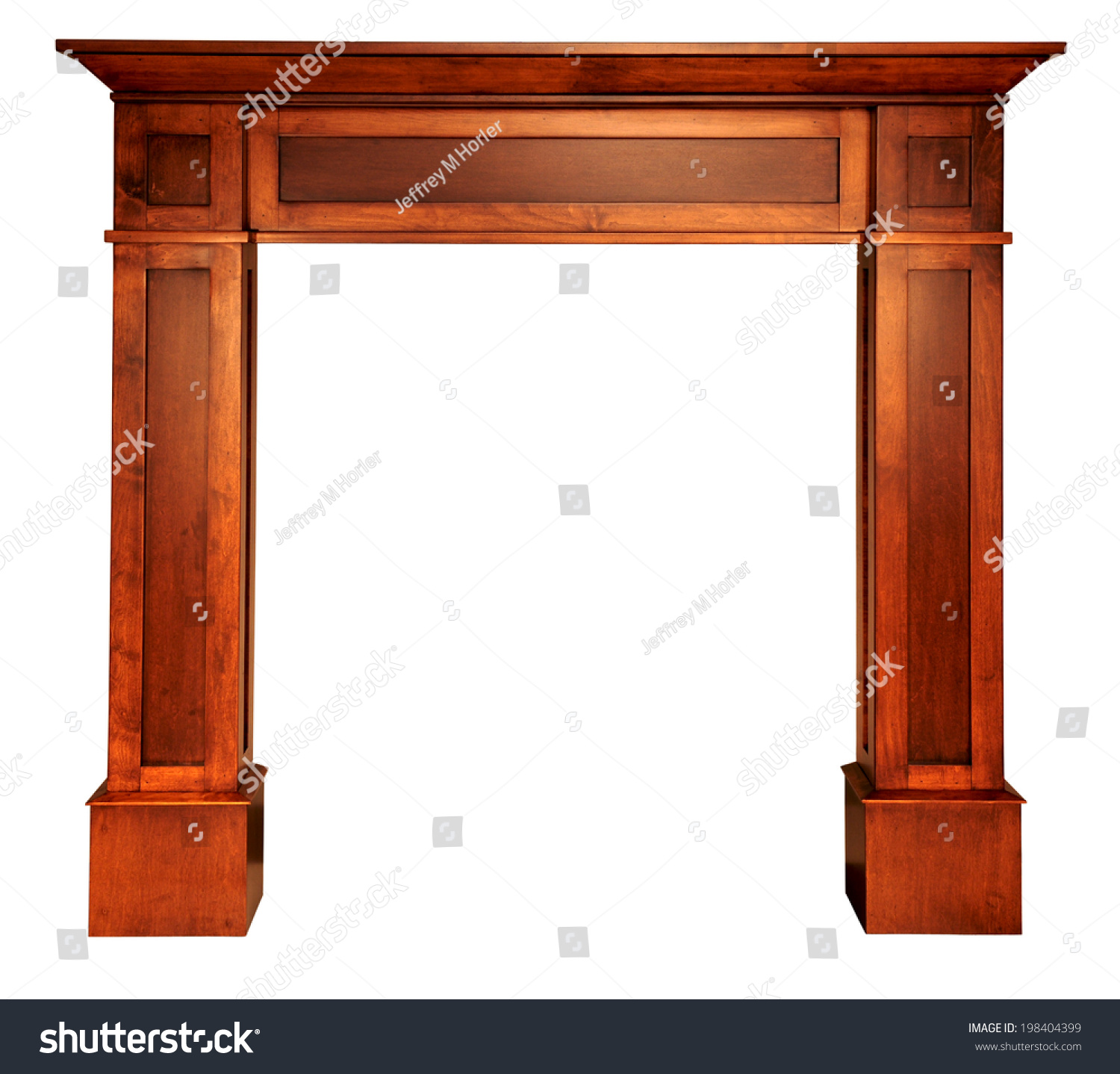 dark wood stained shaker fireplace mantle stock photo 198404399