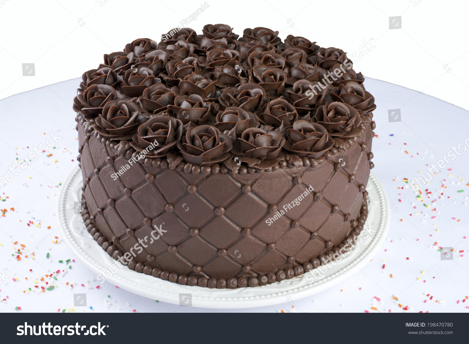Chocolate Cake With Handmade Chocolate Frosting Roses Top ...