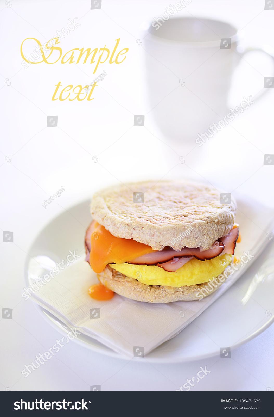 Scrambled Egg Black Forest Ham Cheddar Stock Photo ...