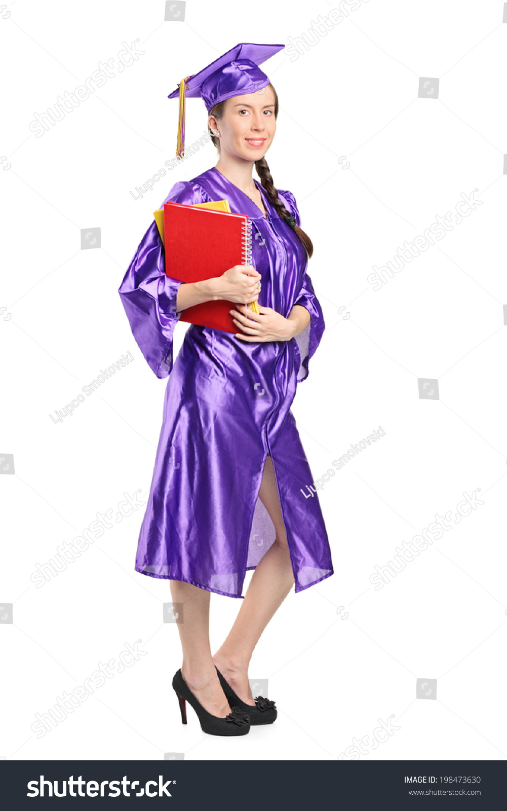 Full Length Portrait Woman Graduation Gown Stock Photo (Royalty Free ...