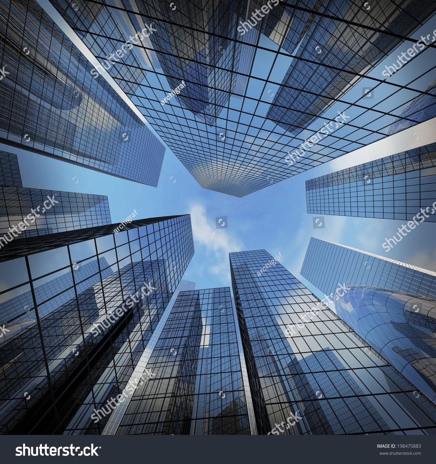 High Tech Modern Architecture Buildings: Background Glass Highrise Building Skyscraper Modern Stock