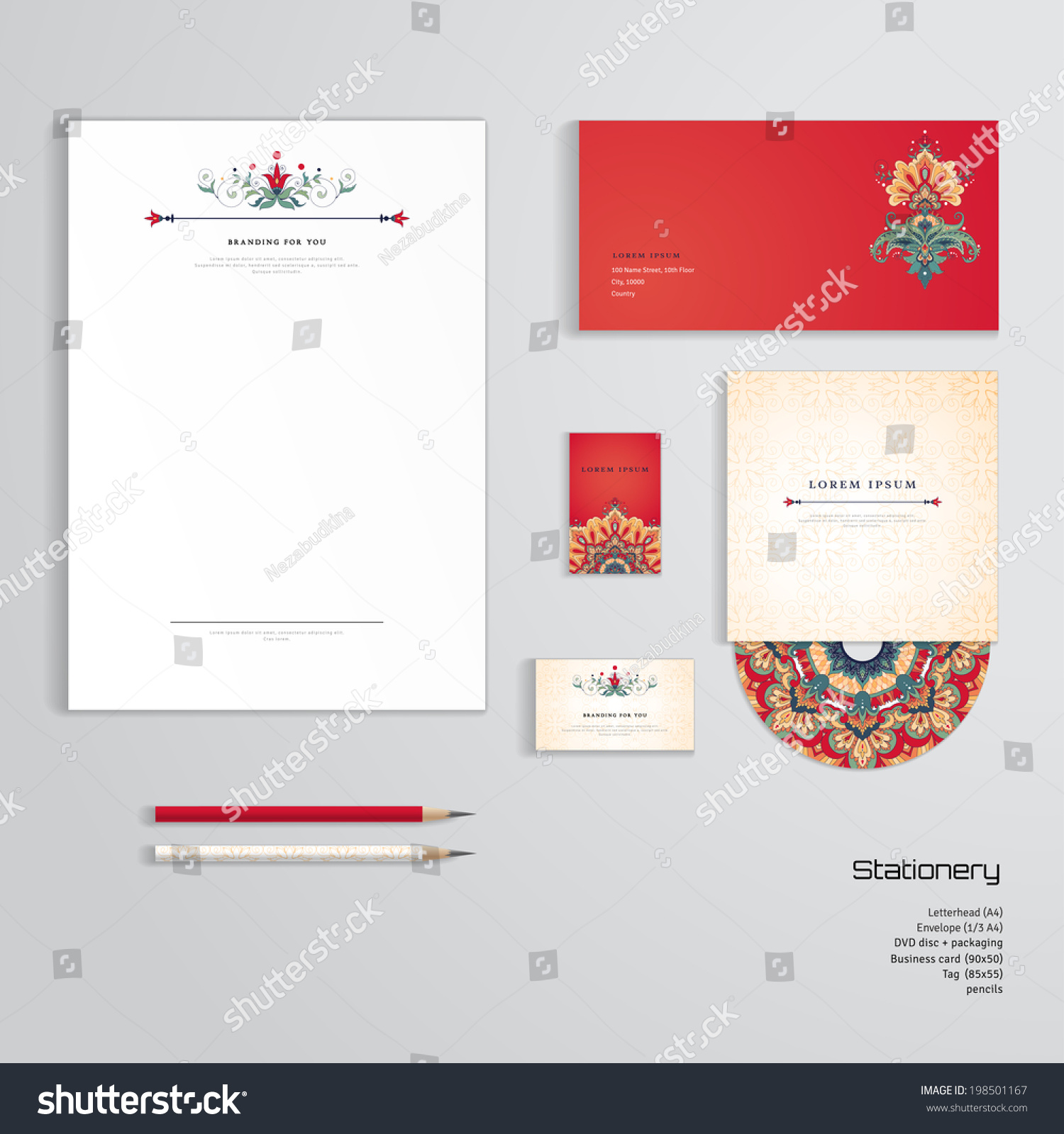 Vector identity templates letterhead envelope business stock vector vector identity templates letterhead envelope business card tag disc with packaging friedricerecipe Image collections