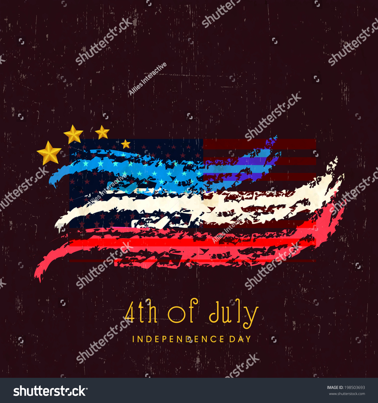 Shiny american flag colors with golden star on brown for Th background color