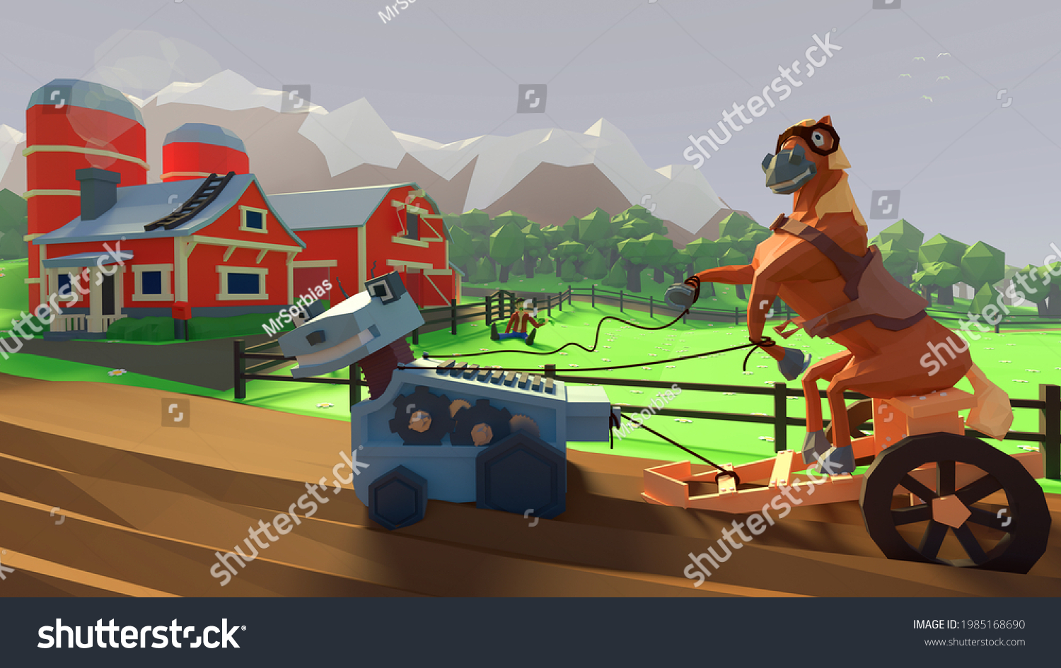 stock-photo--d-illustration-of-a-horse-d